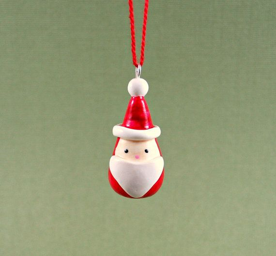 Little Santa Ornament  Miniature Christmas by MadeWithClayAndLove, $18.00