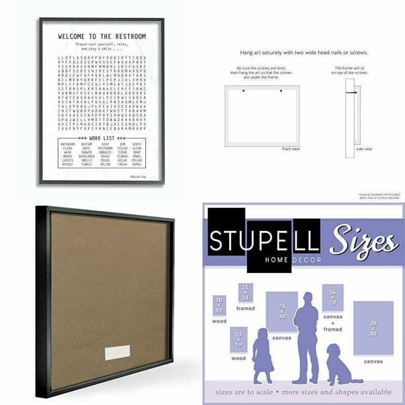The Stupell Home Decor Black White Restroom Crossword Puzzle Sign 11 X 14 Prou In 2020 Black Decor Book Display Shelf Canvas Wood Frame