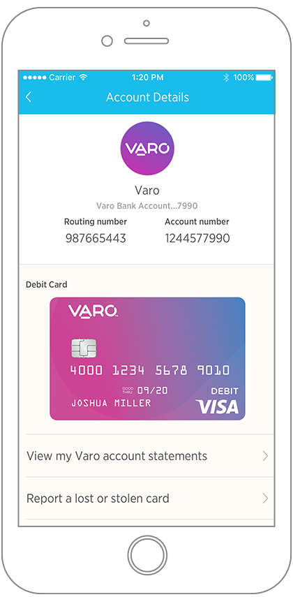 Varo Bank Account View - intelligent mobile banking