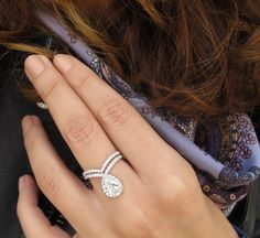 Pear Shaped Diamond Engagement Ring Set Wedding Sets