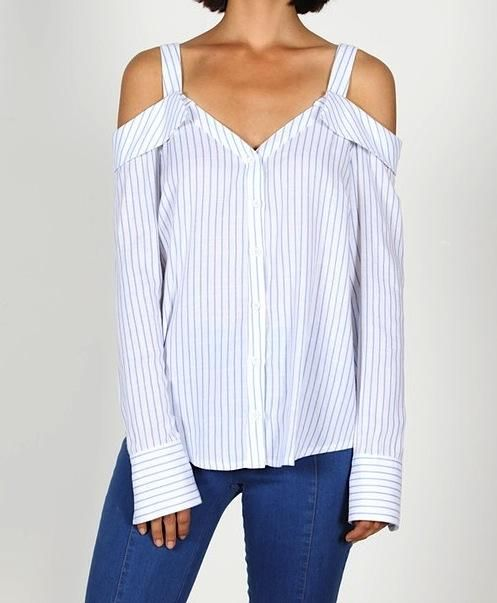 6287da2e09c Cold Shoulder button down Business shirt styling *Cold shoulder silhouette  *Blue and White Pinstripe material *Button Cuff sleeves *Button down front  ...