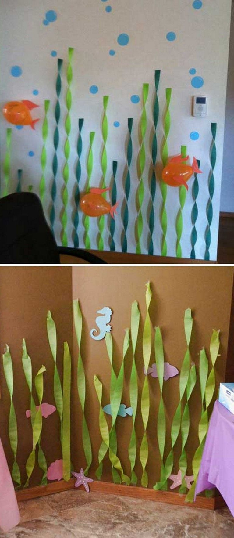 8 Marvelous Under The Sea Decorating Ideas Kids Would Love Underwater Sea Decoratingideas Under The Sea Decorations Sea Theme Under The Sea Crafts