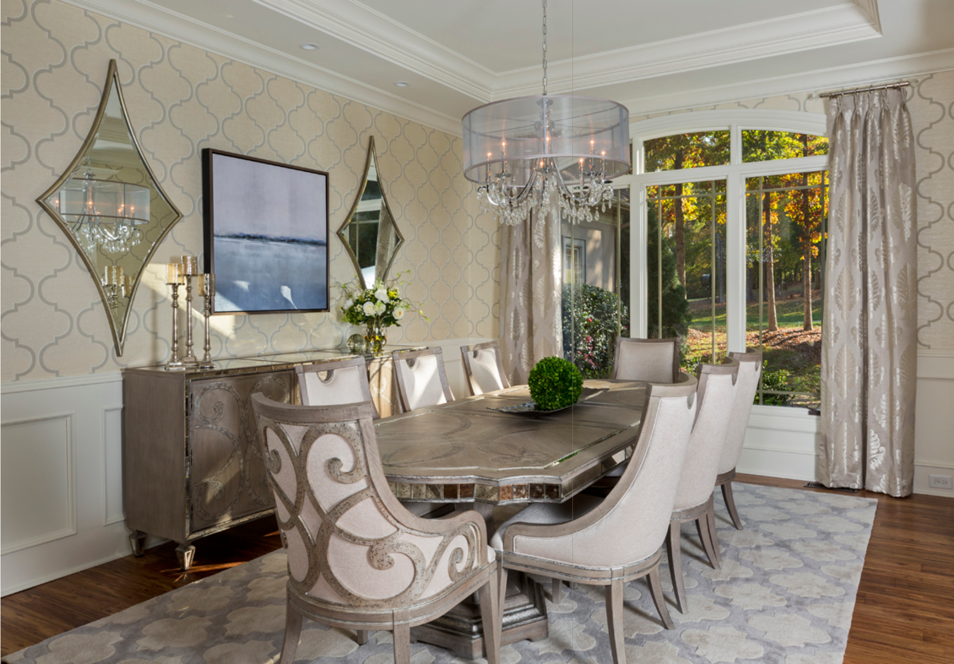 This Dining Room Designed By Laurennicoleinc Is A Showstopper Dyk That Hanging A Mirror Across From A Chandelier Op Interesting Dining Room Home Decor Decor