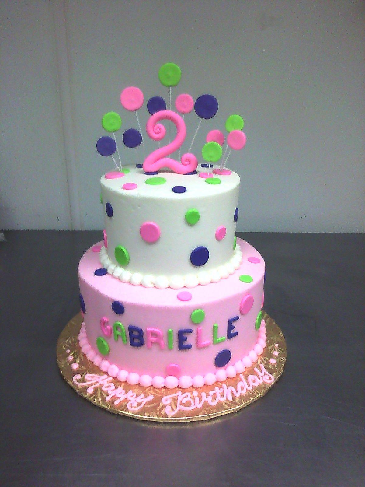 Pink Purple Green 2nd Birthday Cake Custom Cake Birthday Cakes