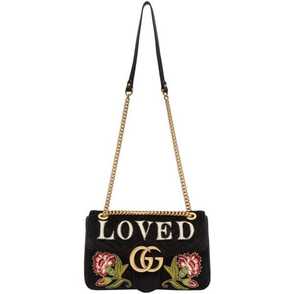 53609c93218 Gucci Black Velvet Medium Loved GG Marmont 2.0 Bag (10