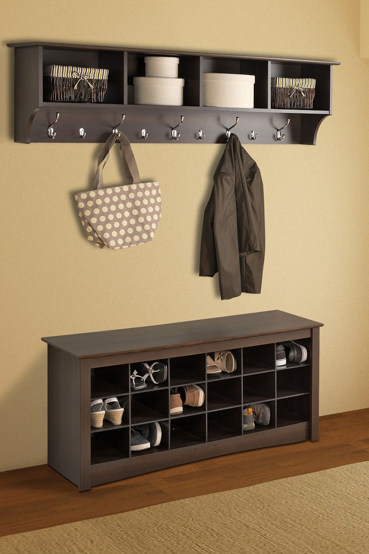 Shoe storage espresso cubbie bench on hautelook Living room shoe storage ideas