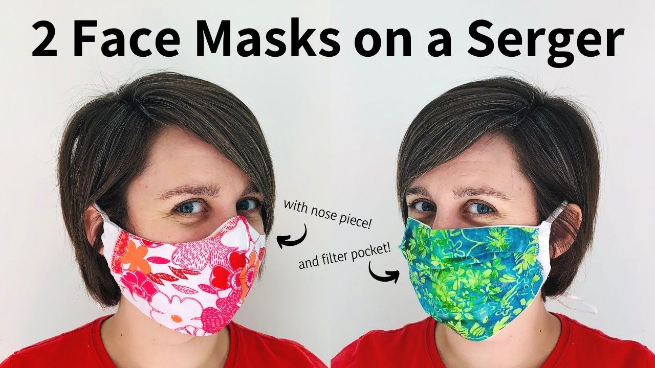 Photo of 2 Face Masks for a Serger – PATTERN INCLUDED! With filter pocket and nose piece