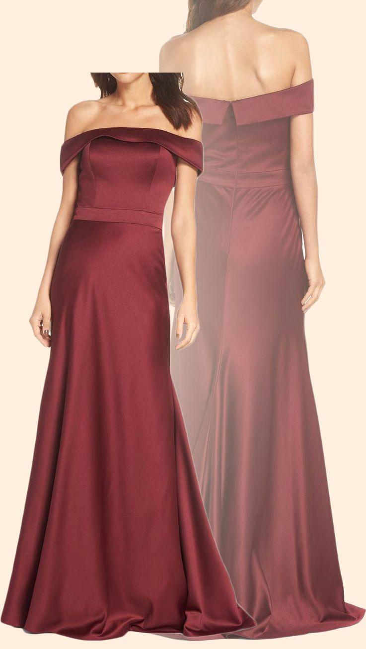 Sheath off the shoulder long prom dress satin burgundy formal