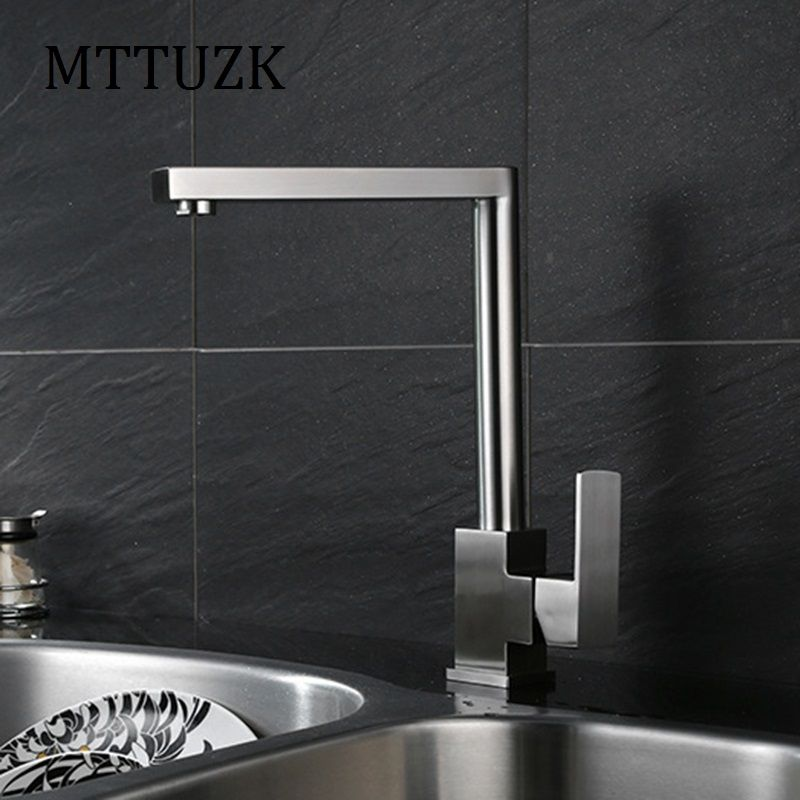 MTTUZK High-quality 304 stainless steel wire drawing kitchen faucet ...