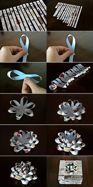 Great tutorial for making a bow out of a magazine, newspaper or ...