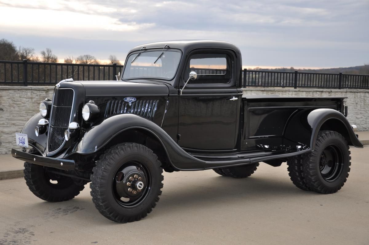 This 1935 ford 4x4 1 ton pickup truck is ready for work