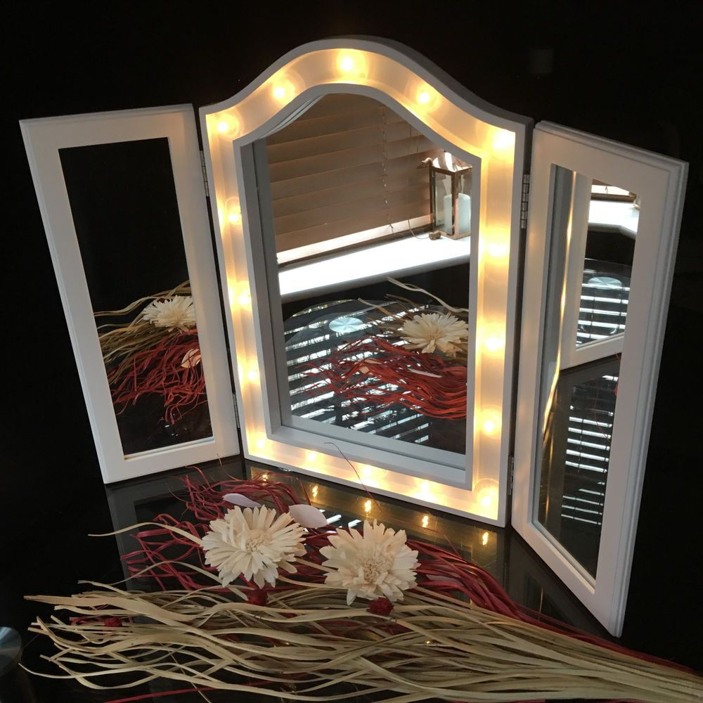 Large Triple Fold 3way Sections Led Mirror Led Dressing Table Top