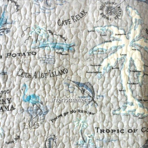 tommy bahama island song 3pc king quilt set tropical nautical map grey blue tommybahama