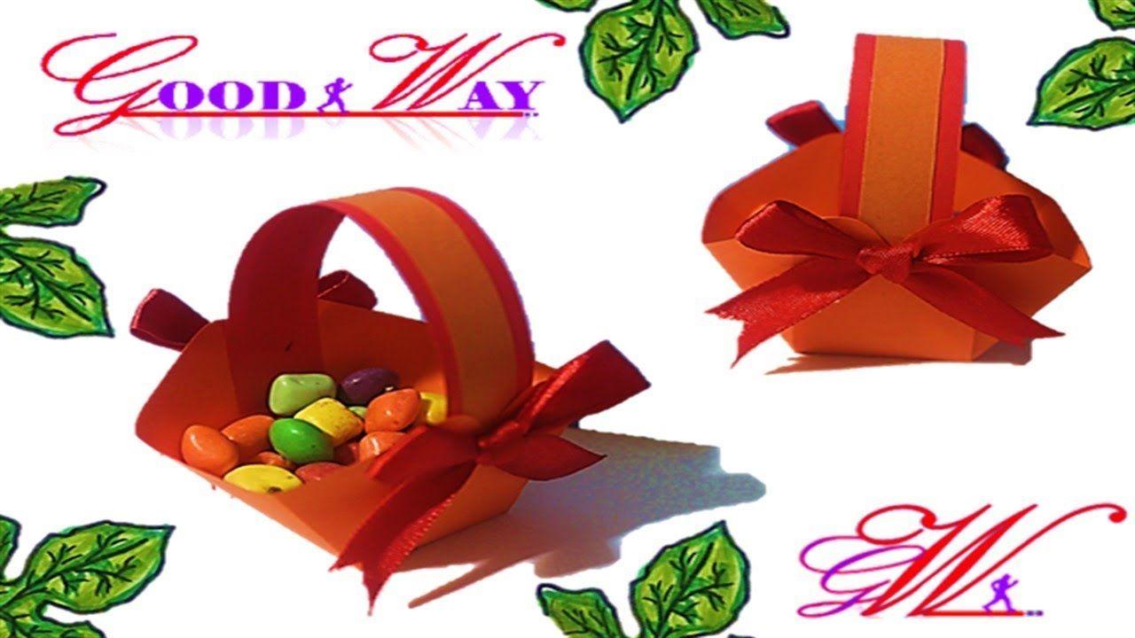 طريقة عمل سلة توزيعات للمناسبات How To Make Basket With Color Paper Diy And Crafts Crafts Hand Art