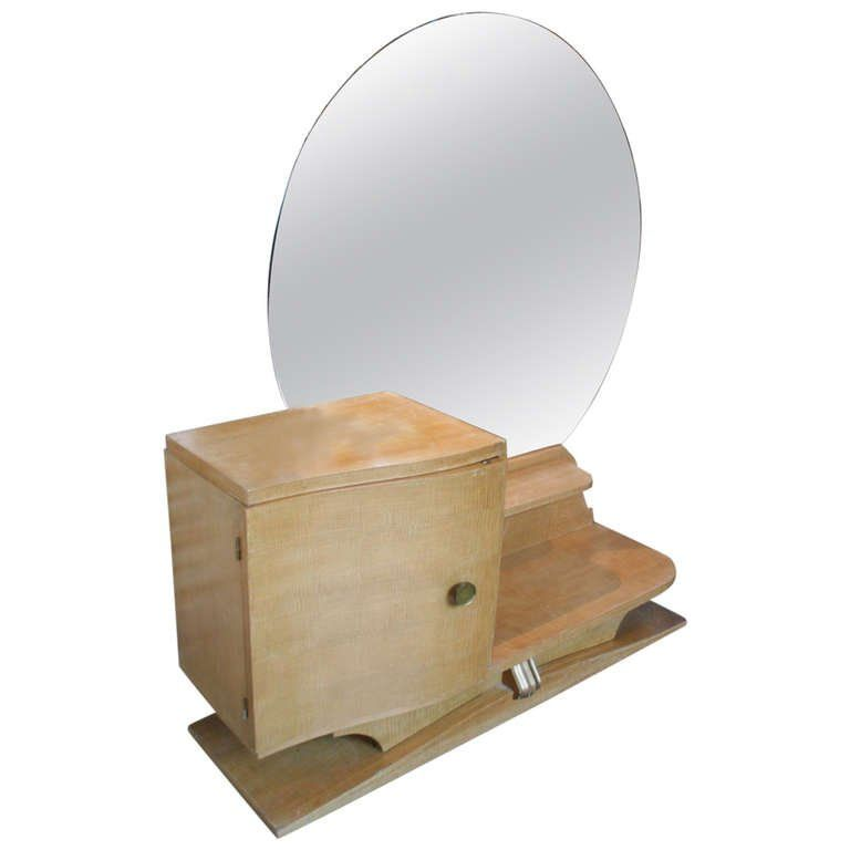 French 1930s Sycamore Vanity with Round Mirror | From a unique collection of antique and modern vanities at https://www.1stdibs.com/furniture/tables/vanities/