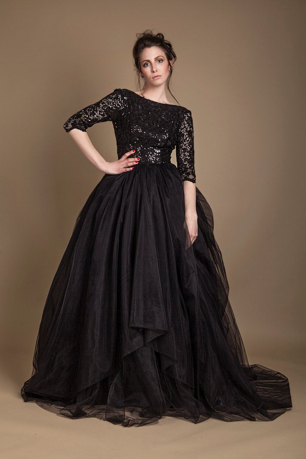 Black wedding gown in tulle, sequined black wedding dress, open back ...