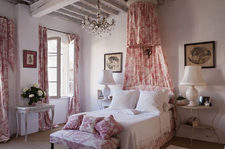 French bedroom with toile and chandelier