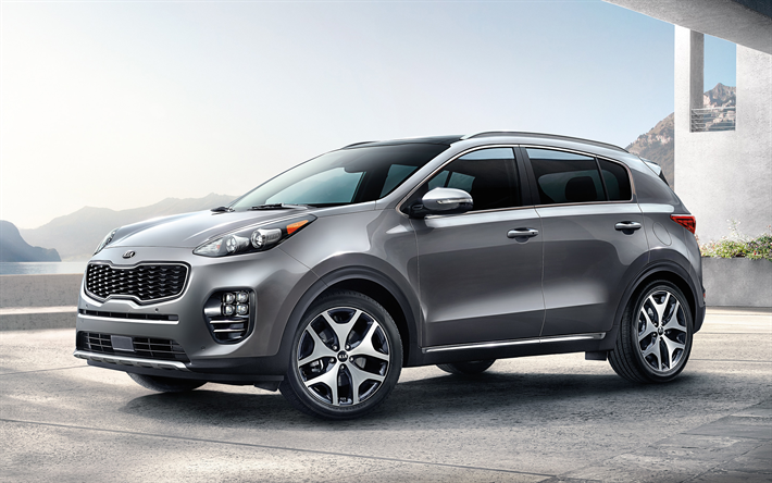 Download Wallpapers Kia Sportage 2018 4k Silver Crossover New Cars South Korea Kia Besthqwallpapers Com Sportage Kia Sportage New Cars