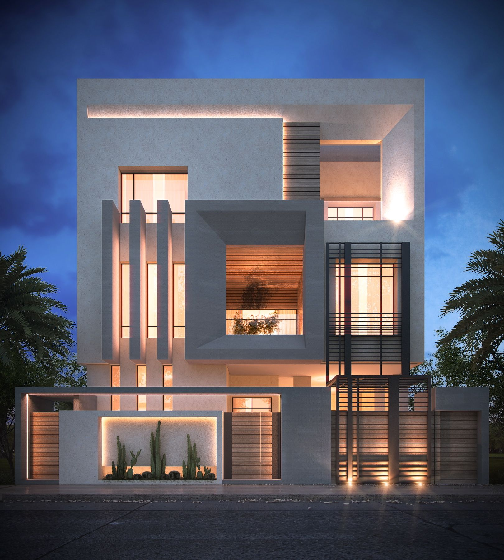 Contemporary Home Exterior Design Ideas: Private Villa / Sarah Sadeq Architects #kuwait