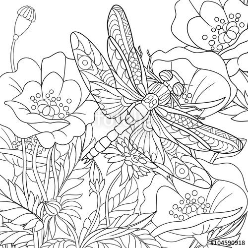 Vector Zentangle stylized cartoon dragonfly insect is flying