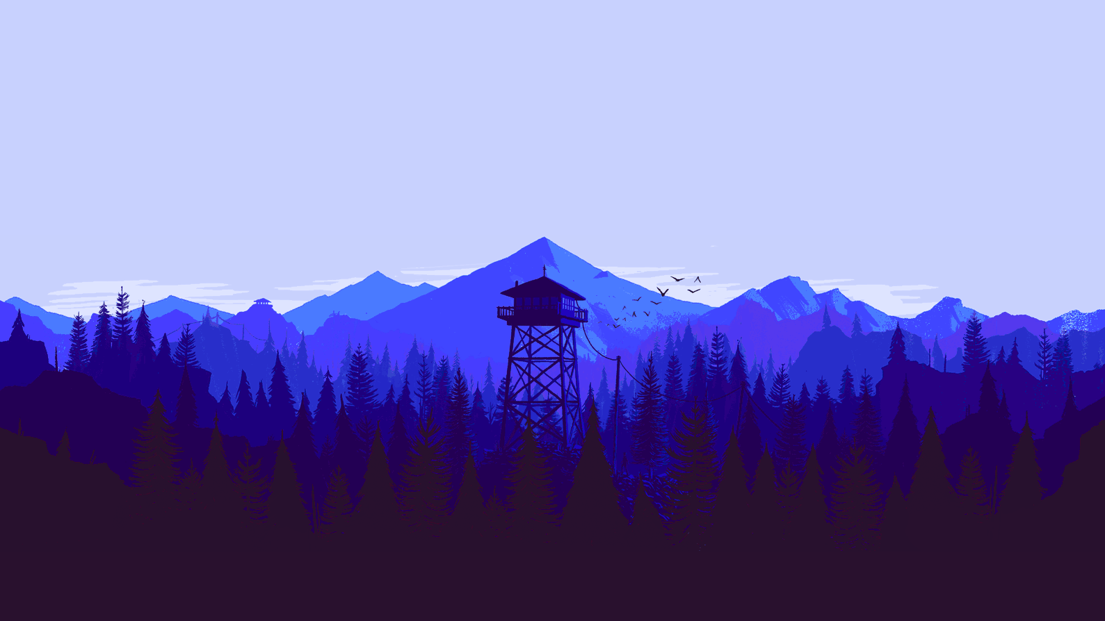 Firewatch, Tower, Trees, Forest, Blue background image