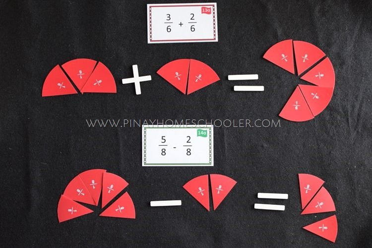 Montessori Addition And Subtraction Of Fractions Montessori Math Activities Fractions Learning Fractions