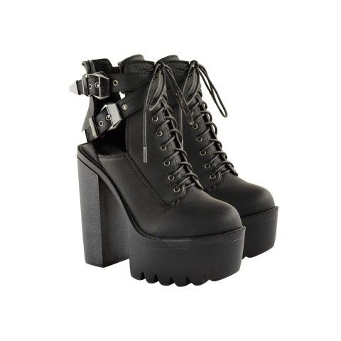 40043d2012850 Chunky Cleated Sole Platform Worker Boots - Nitro Black 90s Fashion ...