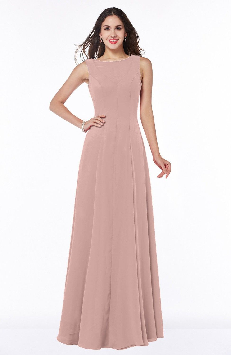 Dusty Rose Bridesmaid Dress - Classic A-line Bateau Sleeveless ...