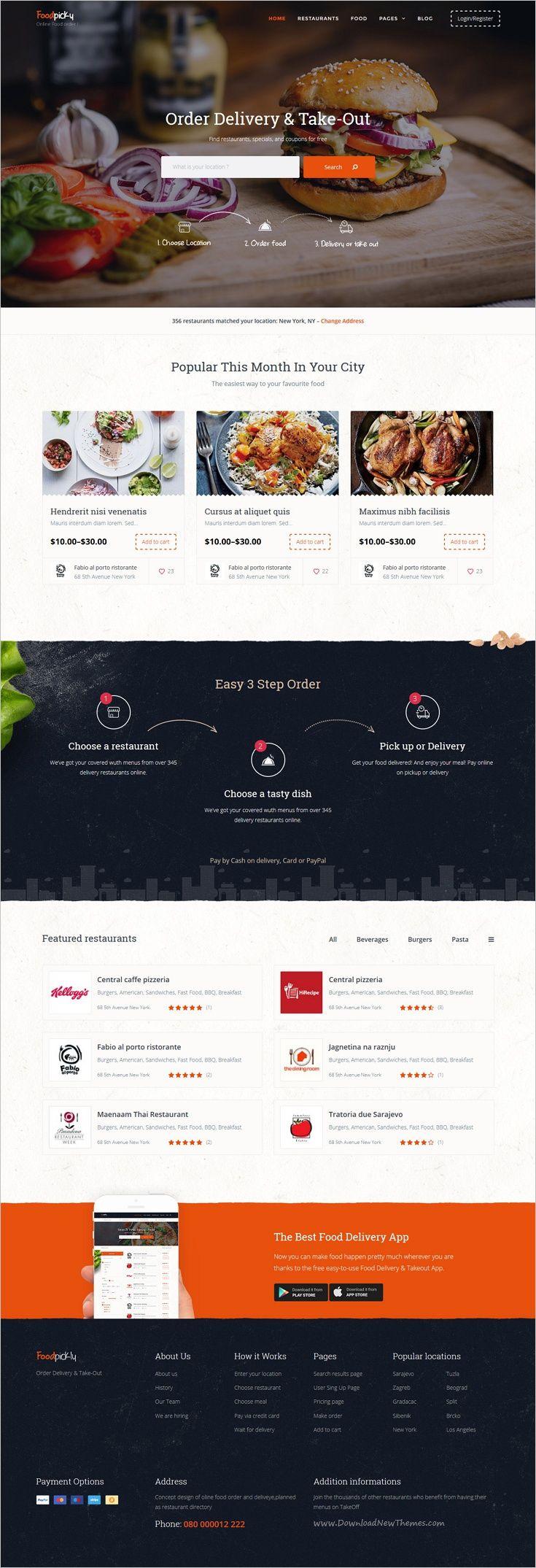 Food Delivery Restaurant Directory Wordpress Theme Foodpicky Food Website Design Food Web Design Food Website