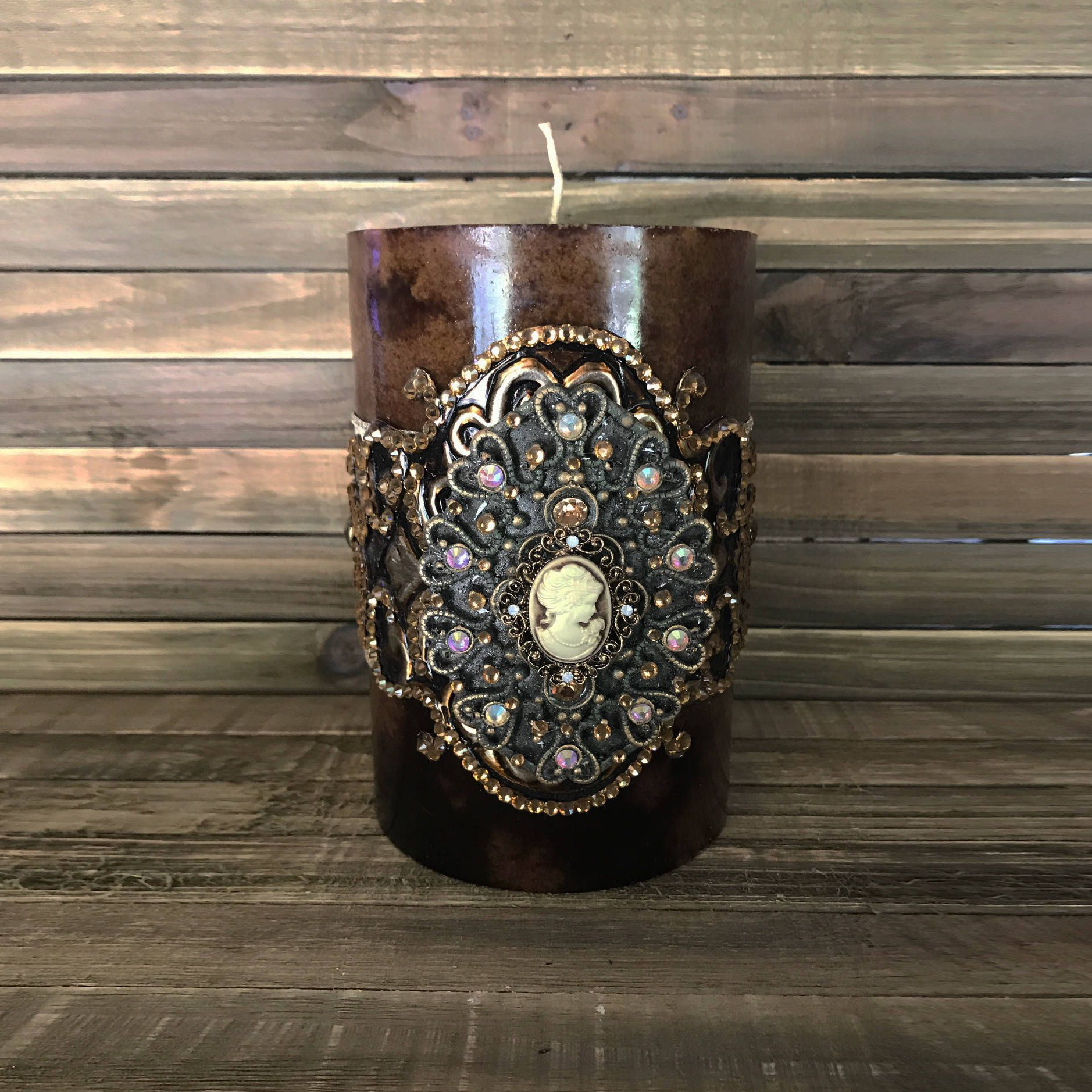 Luxury Pillar Candle Swarovski Crystals Home Decor Brown Single Wick Design Candles Rhinestoned 4x6 By Stylishvintagedesign On