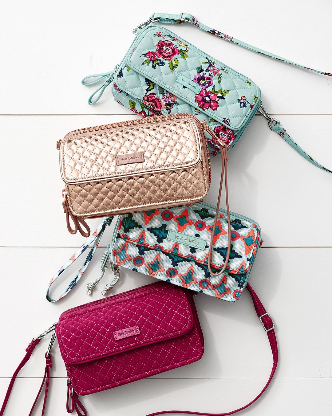 All in One Crossbody Bag in Water Bouquet, Rose Gold Shimmer, Water Geo and  Passion Pink   Summer 2018 11971f9e08