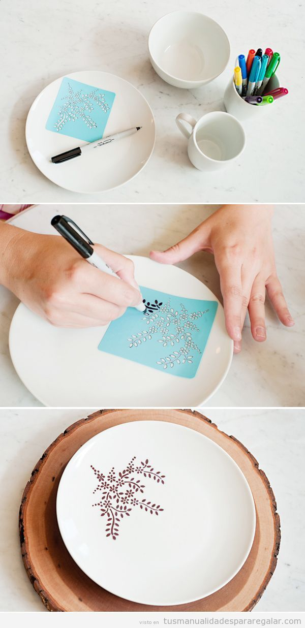 Tutorial paso a paso decorar plato rotulador permanente - Decorar tazas con rotulador permanente ...
