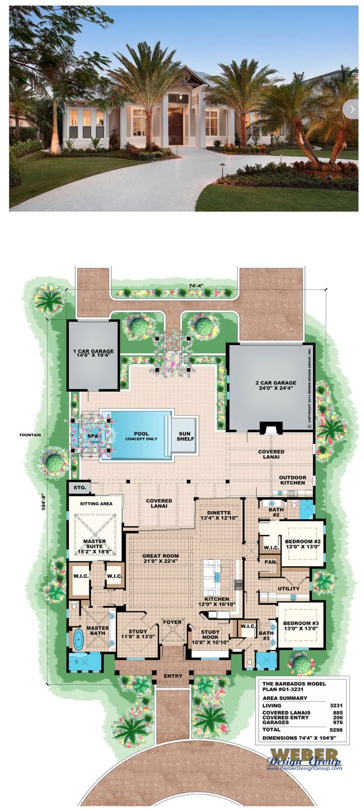 Beach House Plan: Old Florida Coastal & West Indies Style ...