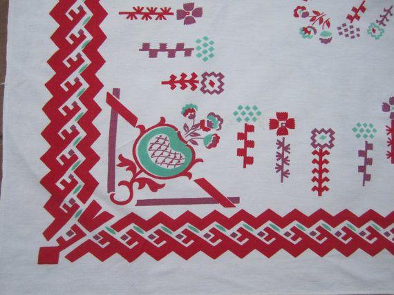 Tablecloth 50x45 Sq Cotton Southwest Design Red Green Purple