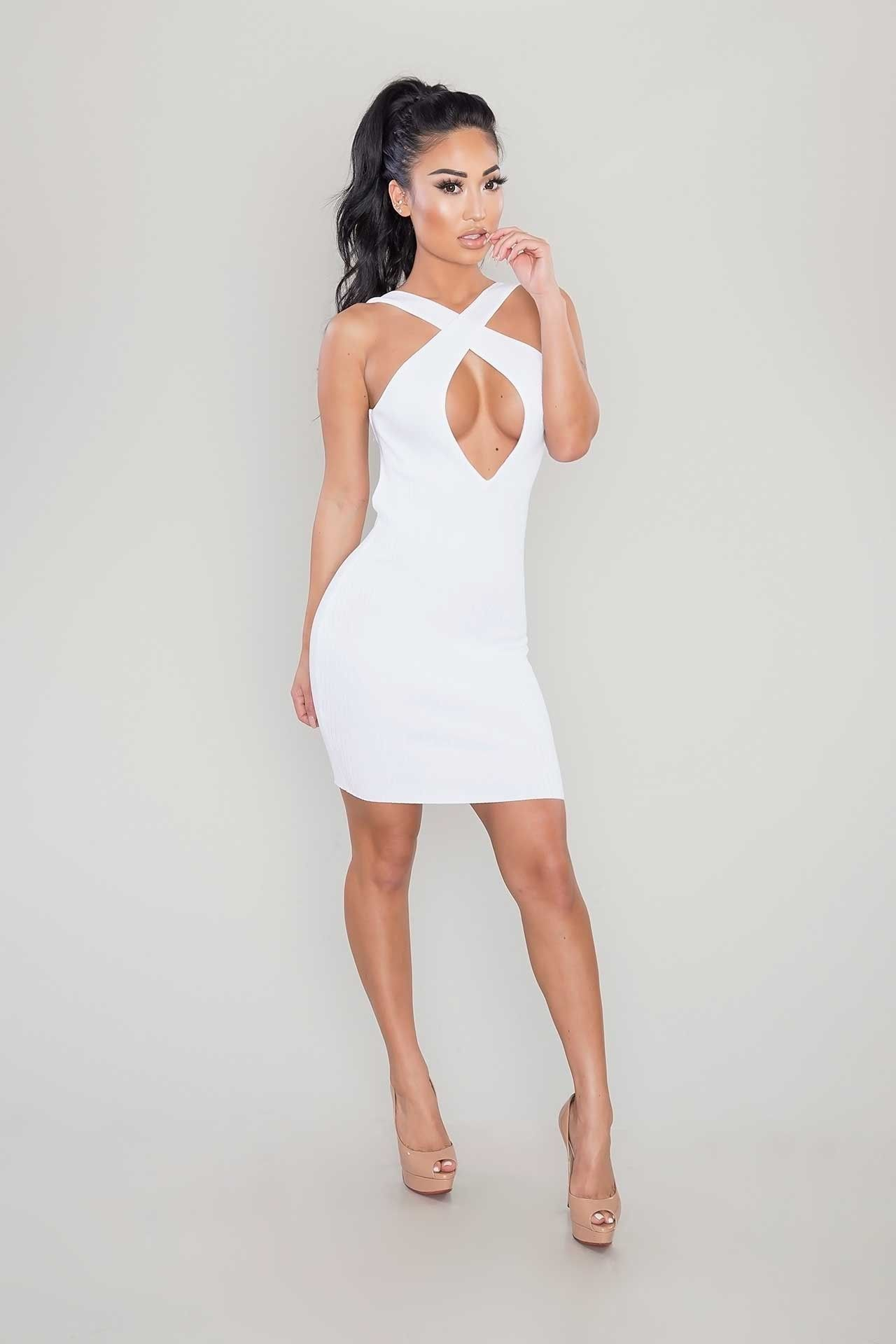 Crossover Ribbed Dress - White