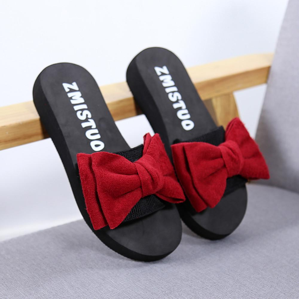 08f2a1b126793 Women Bow Summer Sandals Slipper Indoor Outdoor Shoes