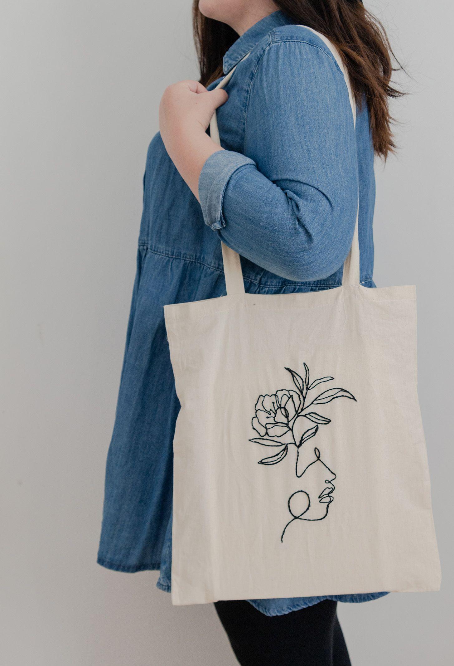 Bordar la bolsa de tela con arte lineal  – Bolsa de moda