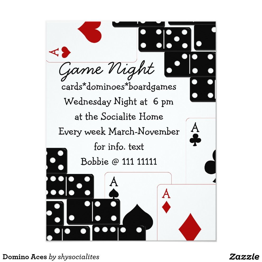 Domino Aces 4.25x5.5 Paper Invitation Card | party\'s | Pinterest | Cards