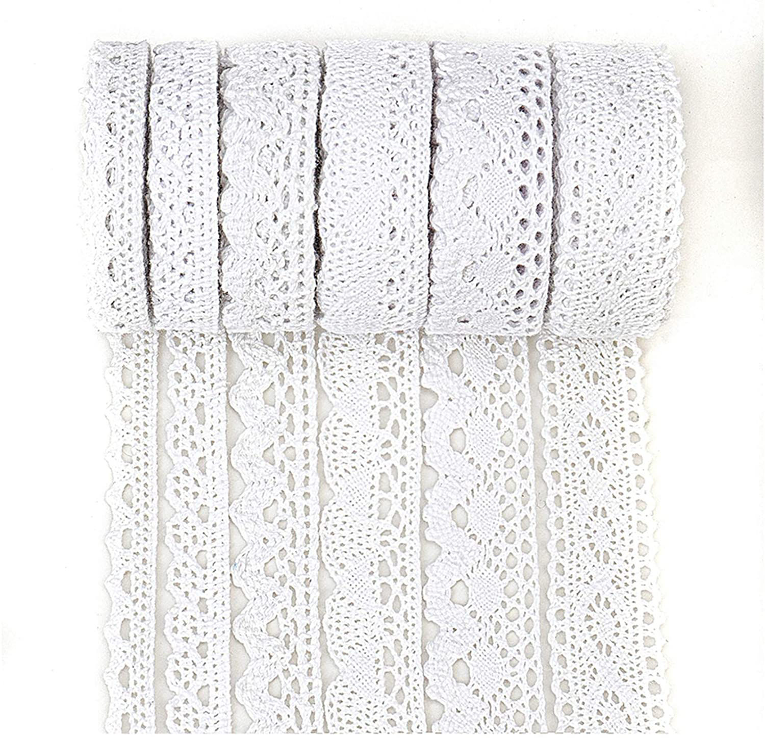 Photo of IDONGCAI Lace Ribbon for Crafts Lace Sewing Trims-Ribbon Lace for Bridal Wedding Decoration Valentine's Day Package DIY Sewing Craft Supply Mix 40 Yards (5 Yard Each) – White