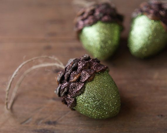 Acorn Ornaments Moss Green Shimmer Rustic by smilemercantile on Etsy.