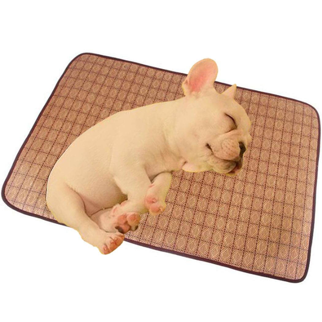 Dog Cooling Mat Cat Bed Pad Bamboo Cool Mats Soft Fleece Crate Two