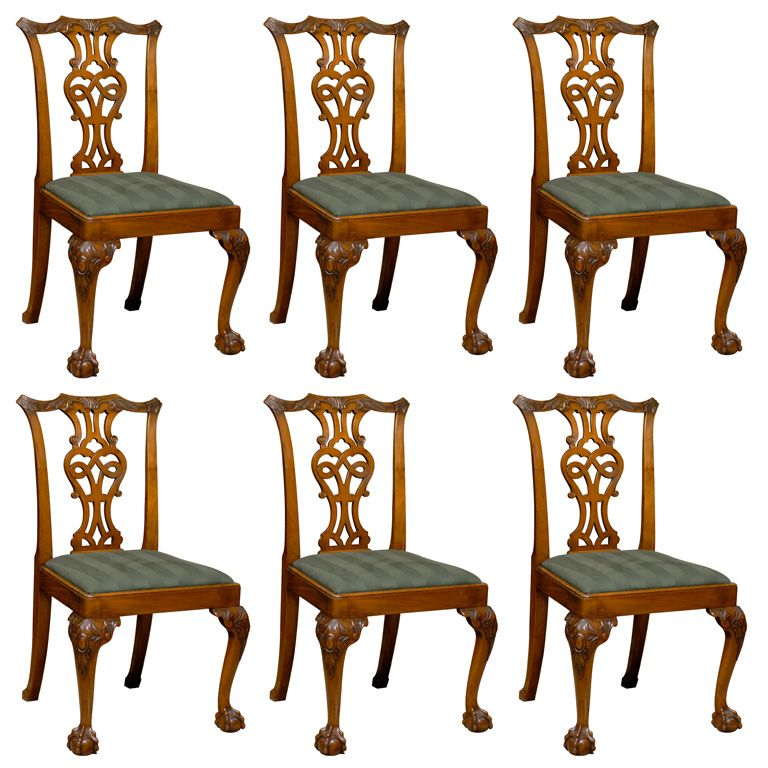 Dining Room Chair Styles: Set Of 6 Chippendale Style Mahogany Dining Chairs, Ca