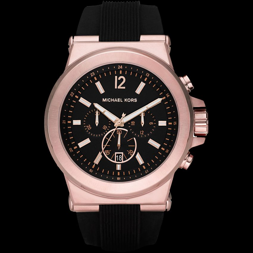 65f48da5dc1d MICHAEL Michael Kors Michael Kors  Dylan  Chronograph Silicone Strap Watch  for men - Handsome navy blue and modern rose gold combine in an urbane ...