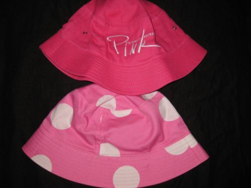 One Size Summer Beach Hat Pink Dog Reversable Victoria Secret vs Logo Polka Dot | eBay
