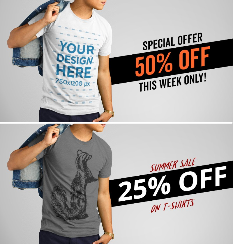 Facebook Ad Template For T Shirt Promotion Offer T Shirt Clothing Mockup Facebook Ad Template