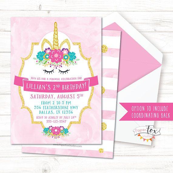 Invitación De Cumpleaños De Unicornio Unicornio Invitación
