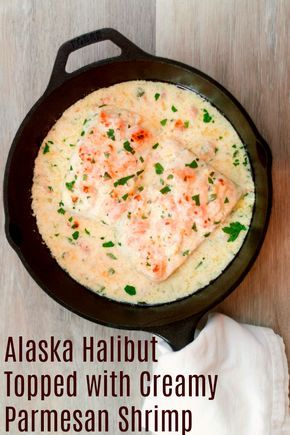 Halibut Topped with Creamy Parmesan Shrimp Recipe - Keto fish meals