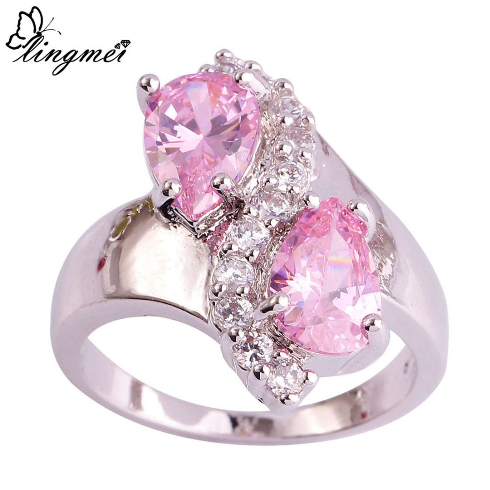 lingmei Free Shiping Lovely Ring Valentine\'s Gift Fashionable Pink ...