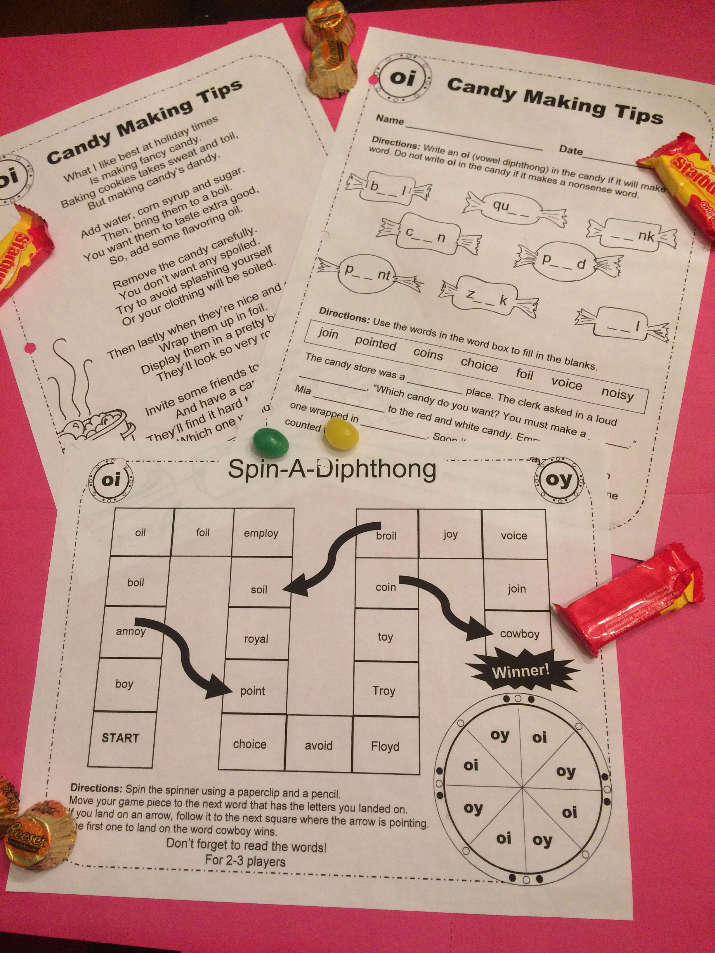 Vowel Diphthongs Original Poems Worksheets And Game Boards Vowel Diphthongs Diphthongs Phonics