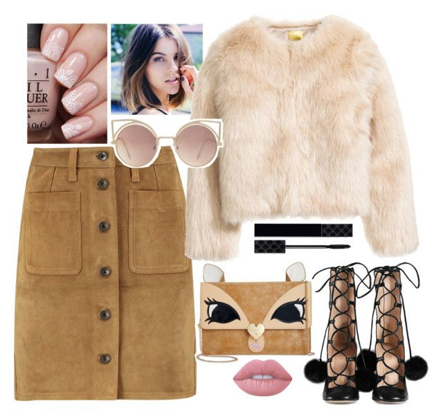 """""""Fur!"""" by ravleenkkamra ❤ liked on Polyvore featuring rag & bone, Gucci, MANGO, Betsey Johnson and Lime Crime"""